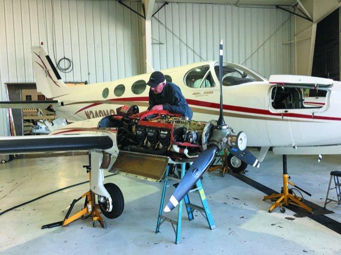 Cessna 340 on jacks